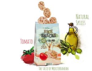 Рисовые снеки с оливковым маслом и томатом